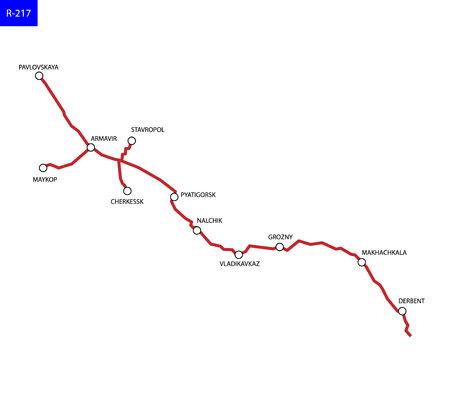 Russian route R-217 Caucasus. Highway Krasnodar - Azerbaijan. Road map of Russia