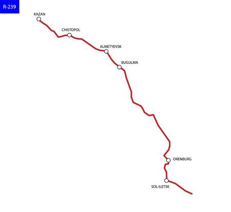 Russian route R-239 . Highway Kazan - Kazakhstan. Road map of Russia
