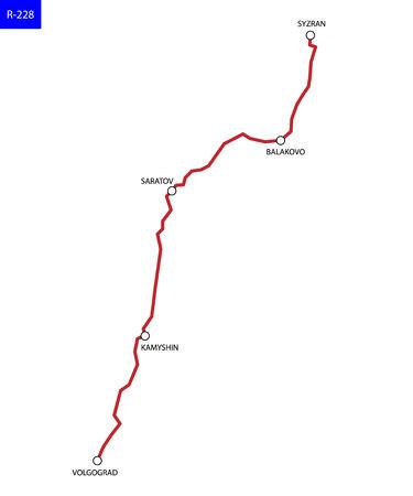 Russian route R-228. Highway Syzran - Volgograd. Road map of Russia