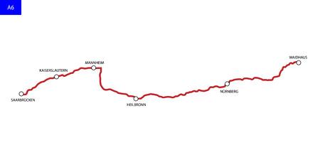 German highway route A6. Bundesautobahn 6. Road map of Germany 向量圖像