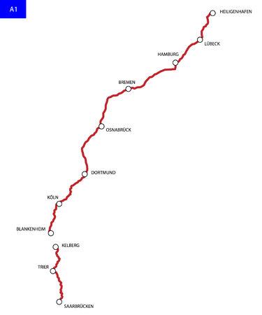 German highway route A1. Bundesautobahn 1 . Road map of Germany Иллюстрация
