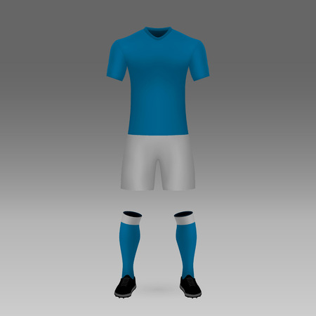 football kit Napoli, shirt template for soccer jersey. Vector illustration