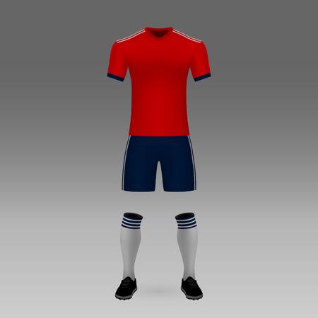 football kit Bayern Munich, shirt template for soccer jersey. Vector illustration  イラスト・ベクター素材
