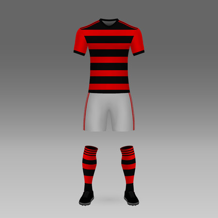 football kit Flamengo, shirt template for soccer jersey. Vector illustration