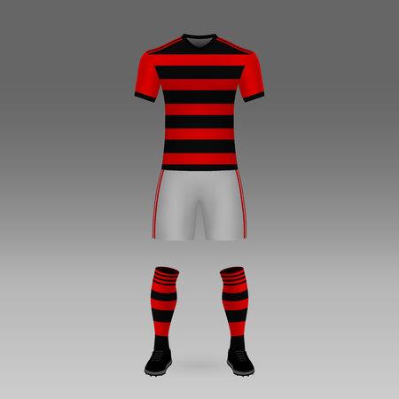 football kit Flamengo, shirt template for soccer jersey. Vector illustration Stockfoto - 126977268