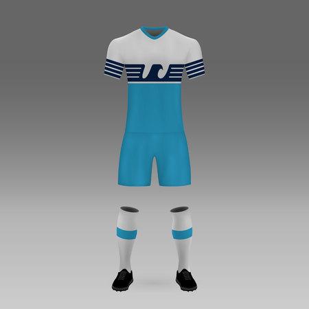 football kit Lazio, shirt template for soccer jersey. Vector illustration Çizim