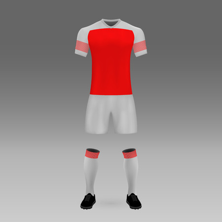 football kit Arsenal, London, shirt template for soccer jersey. Vector illustration Illustration