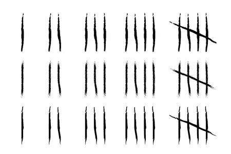 Hand drawn Tally marks with brush strokes