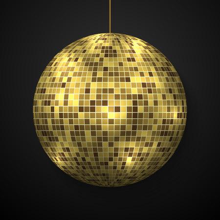 Boule disco miroir isolée. Élément de conception de partie de boîte de nuit.