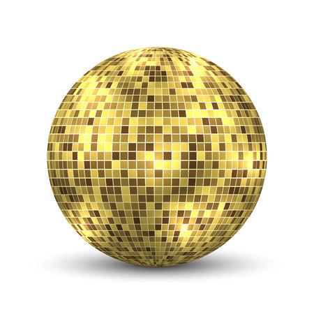 Lustro disco ball na białym tle. Element projektu strony klubu nocnego. Ilustracje wektorowe