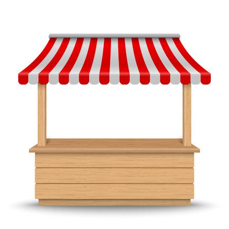 Stand de marché en bois avec auvent rayé rouge et blanc isolé sur fond.