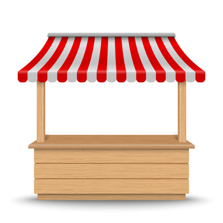 Wooden market stand stall with red and white striped awning isolated on background.