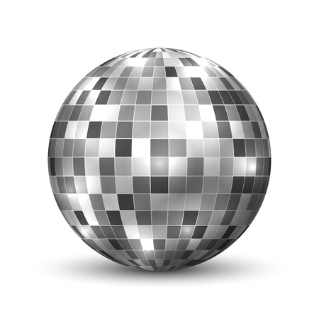 Mirror disco ball isolated. Night Club party design element.