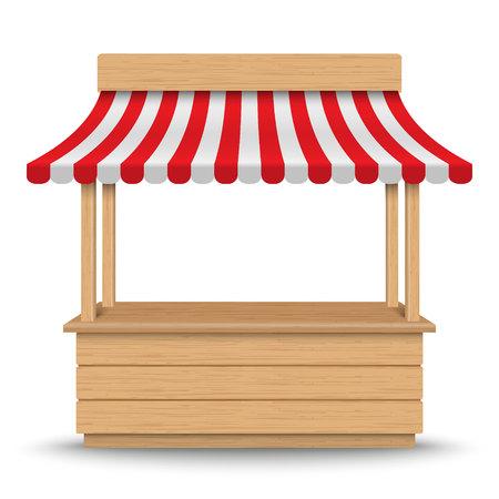 Puesto de mercado de madera con toldo de rayas rojas y blancas aislado sobre fondo.