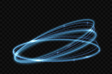 Vector circle neon light tracing effect. Glowing magic fire ring trace