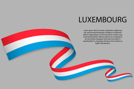 Waving ribbon or banner with flag of Luxembourg. Template for independence day poster design