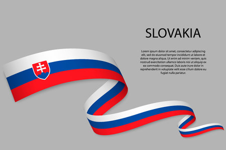 Waving ribbon or banner with flag Ilustracja