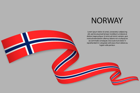 Waving ribbon or banner with flag of Norway. Template for independence day poster design Çizim