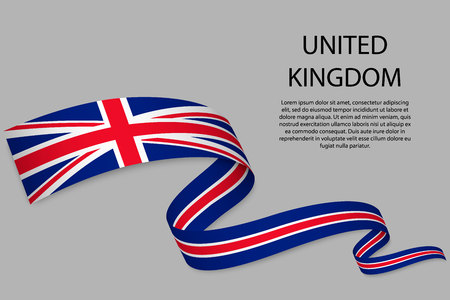 Waving ribbon or banner with flag of United Kingdom. Template for independence day poster design
