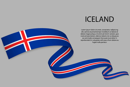 Waving ribbon or banner with flag of Iceland. Template for independence day poster design Vectores