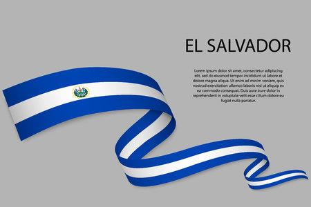 Waving ribbon or banner with flag Ilustração