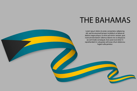 Waving ribbon or banner with flag of The Bahamas. Template for independence day poster design Ilustração