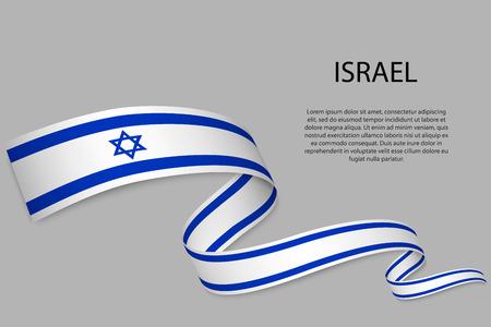 Waving ribbon or banner with flag Illustration