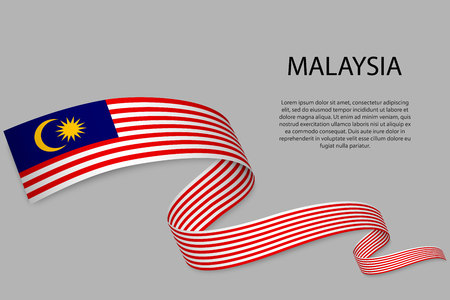 Waving ribbon or banner with flag of Malaysia. Template for independence day poster design