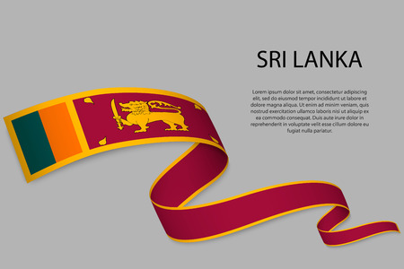 Waving ribbon or banner with flag of Sri Lanka. Template for independence day poster design