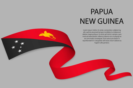 Waving ribbon or banner with flag of Papua New Guinea. Template for independence day poster design