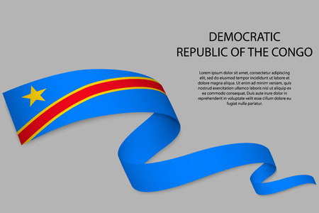 Waving ribbon or banner with flag of Democratic Republic of the Congo. Template for independence day poster design