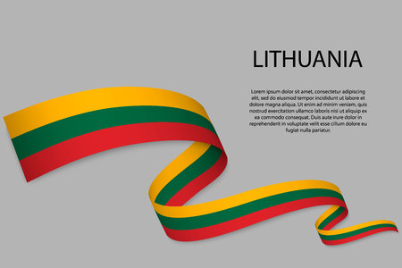 Waving ribbon or banner with flag of Lithuania. Template for independence day poster design