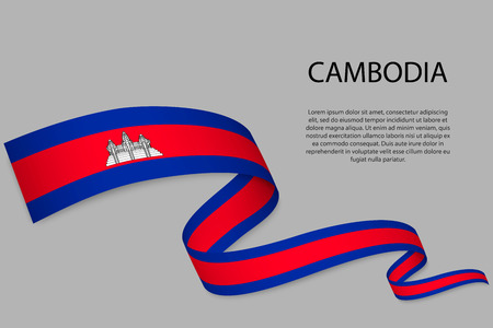 Agitant un ruban ou une bannière avec le drapeau du Cambodge. Modèle pour la conception d'affiches de la fête de l'indépendance