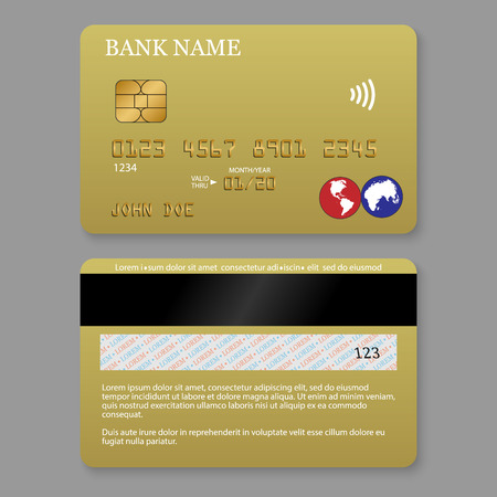 Realistic detailed gold credit card. Front and back side template.