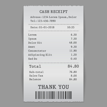 vector paper check, sell receipt or bill template