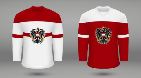 Realistic hockey kit team Austria, shirt template for ice hockey jersey. Vector illustration