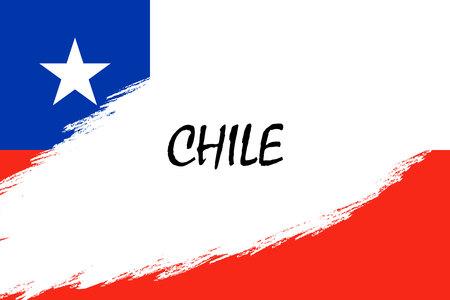 Fondo de trazo de pincel con bandera de Chile de estilo grunge Ilustración de vector