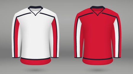 Realistic hockey kit, shirt template for ice hockey jersey. Washington Capitals