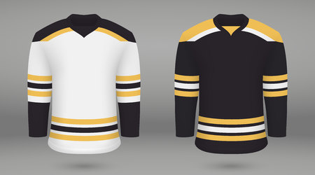 Realistic hockey kit, shirt template for ice hockey jersey Boston Bruins. Vector illustration Illustration