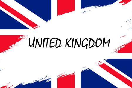 Brush stroke background with Grunge styled flag of United Kingdom