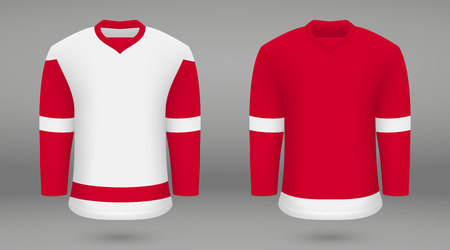 Realistic hockey kit, shirt template for ice hockey jersey Detroit Red Wings. Vector illustration