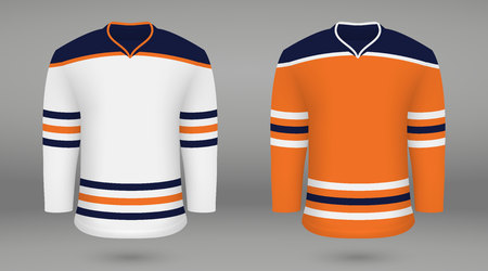 Realistic hockey kit, shirt template for ice hockey jersey Edmonton Oilers. Vector illustration