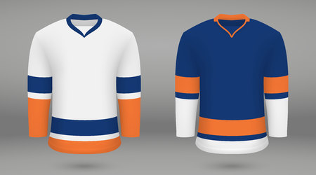 Realistic hockey kit, shirt template for ice hockey jersey. New York Islanders Ilustração