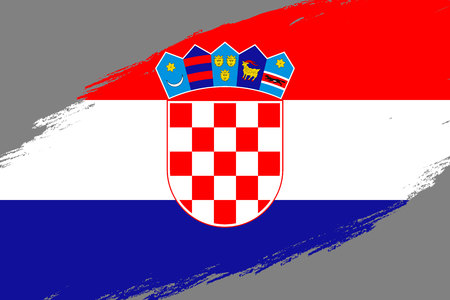 Brush stroke background with Grunge styled flag of Croatia Stock Vector - 117094742
