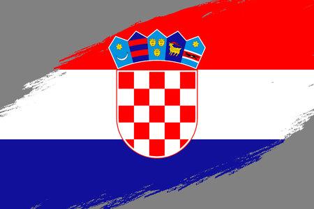 Brush stroke background with Grunge styled flag of Croatia