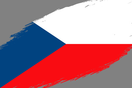 Brush stroke background with Grunge styled flag of Czech Republic