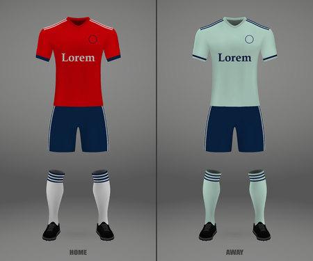 football kit Bayern Munich 2018-19, shirt template for soccer jersey. Vector illustration