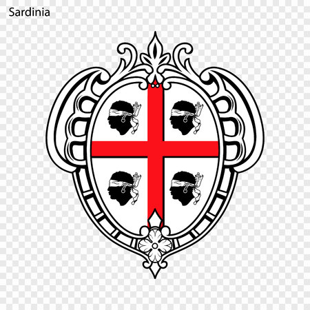 Emblem of Sardinia, province of Italy. Vector illustration Stock Illustratie