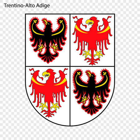 Emblem of Trentino-South Tyrol, province of Italy. Vector illustration