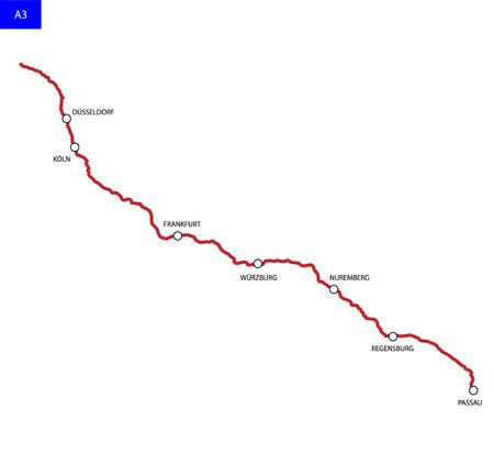 German route A3. Bundesautobahn 3. Road map of Germany Иллюстрация